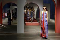 A model presents a creation by designers Humberto Leon and Carol Lim as part of their Spring/Summer 2016 women's ready-to-wear collection for Japanese fashion house Kenzo in Paris, France, October 4, 2015.  REUTERS/Benoit Tessier