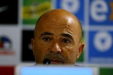 Técnico da seleção do Chile, Jorge Sampaoli, em entrevista coletiva. 07/10/2015 REUTERS/Ivan Alvarado
