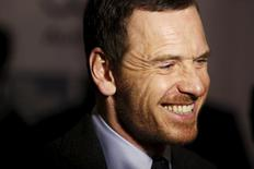 """Actor Michael Fassbender gives an interview before a screening of the film """"Steve Jobs"""" at the New York Film Festival in New York, United States, October 3, 2015.  REUTERS/Dominick Reuter"""