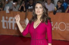 "Actress Salma Hayek arrives on the red carpet for the film ""Septembers of Shiraz"" during the 40th Toronto International Film Festival in Toronto, Canada, September 15, 2015. TIFF runs from September 10-20.   REUTERS/Mark Blinch"