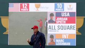 U.S. team member Jordan Spieth reacts after sinking his putt on the 13th hole during the singles matches of the 2015 Presidents Cup golf tournament at the Jack Nicklaus Golf Club in Incheon, South Korea, October 11, 2015.   REUTERS/Toru Hanai