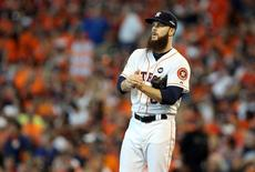 Houston Astros starting pitcher Dallas Keuchel (60) reacts during the third inning in game three of the ALDS against the Kansas City Royals at Minute Maid Park. Mandatory Credit: Troy Taormina-USA TODAY Sports