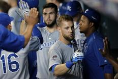 Oct 12, 2015; Houston, TX, USA; Kansas City Royals left fielder Alex Gordon (right) and first baseman Eric Hosmer (35) celebrate in the eighth inning against the Houston Astros in game four of the ALDS at Minute Maid Park. Royals won 9-6. Mandatory Credit: Thomas B. Shea-USA TODAY Sports