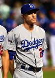 Los Angeles Dodgers infielder Chase Utley (26) is introduced prior to the game against the New York Mets in game three of the NLDS at Citi Field. Mandatory Credit: Andy Marlin-USA TODAY Sports