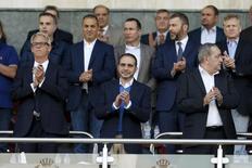 Jordanian Prince Ali bin Al Hussein (C) attends the 2018 World Cup qualifying soccer match between Jordan and Australia at the Amman International Stadium in Amman, Jordan October 8, 2015. REUTERS/Muhammad Hamed
