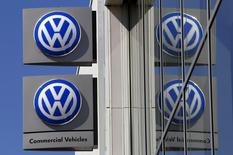 Volkswagen logos adorn a sign outside a dealership for the German automaker located in the Sydney suburb of Artarmon, Australia, October 3, 2015. REUTERS/David Gray