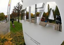 The FIFA logo is seen outside their headquarters in Zurich October 8, 2015.  REUTERS/Arnd Wiegmann
