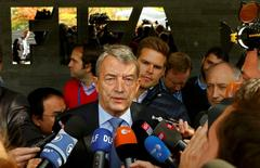 Wolfgang Niersbach, the German Soccer Association (DFB) President and member of the FIFA executive committee, talks to the media during a meeting of the FIFA executive committee in Zurich, Switzerland September 25, 2015. REUTERS/Arnd Wiegmann