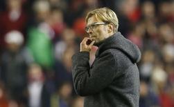 Técnico do Liverpool, Juergen Klopp, após partida contra o Rubin Kazan, pela Liga Europa, em Liverpool. 22/10/2015 REUTERS/Phil Noble