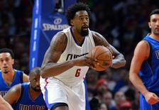 Oct 29, 2015; Los Angeles, CA, USA; Los Angeles Clippers center DeAndre Jordan (6) passes the ball in the second half of the game against the Dallas Mavericks at Staples Center. Mandatory Credit: Jayne Kamin-Oncea-USA TODAY Sports