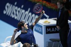 Switzerland's Roger Federer reacts after winning against David Goffin of Belgium during their match at the Swiss Indoors ATP men's tennis tournament in Basel, Switzerland October 30, 2015.   REUTERS/Arnd Wiegmann