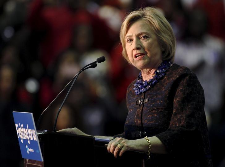 U.S. Democratic presidential candidate Hillary Clinton speaks at the ''African Americans for Hillary'' rally at Clark Atlanta University in Atlanta, Georgia October 30 2015.   REUTERS/Tami Chappell