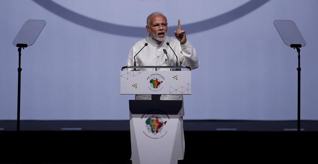 India's Prime Minister Narendra Modi speaks during the Inaugural Session of the India-Africa Forum Summit in New Delhi, India, October 29, 2015. REUTERS/Adnan Abidi