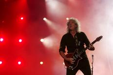 Brian May of the band Queen performs with Adam Lambert (not pictured) during the Rock in Rio Music Festival in Rio de Janeiro, Brazil, September 19, 2015. REUTERS/Pilar Olivares