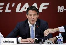 Newly elected President of International Association of Athletics Federations Sebastian Coe speaks at a news conference, in Beijing, August 19, 2015.  REUTERS/Jason Lee