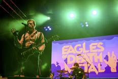 Jesse Hughes of the rock band Eagles of Death Metal performs with drummer Joey Castillo (R) at Festival Supreme at Shrine Auditorium in Los Angeles, California in this October 25, 2014 file photo.  REUTERS/Alex Matthews
