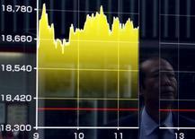 Un peatón se refleja en un tablero electrónico que muestra el índice Nikkei de Japón, afuera de una correduría en Tokio, 27 de agosto de 2015. Las acciones japonesas cerraron la sesión del martes con un aumento modesto, y avanzaron por quinto día consecutivo, en momentos en que los inversores esperan nuevas señales comerciales. REUTERS/Yuya Shino