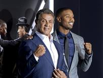 """Cast members Sylvester Stallone (L) and Michael B. Jordan pose during the premiere of the film """"Creed"""" in Los Angeles, California, in this November 19, 2015 file photo.  REUTERS/Kevork Djansezian"""
