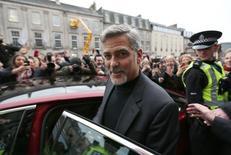 Hollywood actor George Clooney leaves Tiger Liley restaurant in Edinburgh, Scotland. November 12, 2015. REUTERS/Russell Cheyne