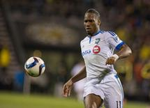 Nov 8, 2015; Columbus, OH, USA; Montreal Impact forward Didier Drogba (11) chases down a ball during the extra time in the game against the Columbus Crew SC at MAPFRE Stadium. Columbus beat Montreal in extra time 4-3 on aggregate. Mandatory Credit: Trevor Ruszkowski-USA TODAY Sports