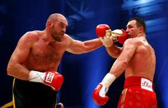 Tyson Fury in action against Wladimir Klitschko during the fight. Reuters / Kai Pfaffenbach Livepic
