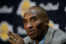 Nov 29, 2015; Los Angeles, CA, USA; Los Angeles Lakers forward Kobe Bryant speaks at a press conference after the game against the Indiana Pacers at Staples Center. Mandatory Credit: Richard Mackson-USA TODAY Sports