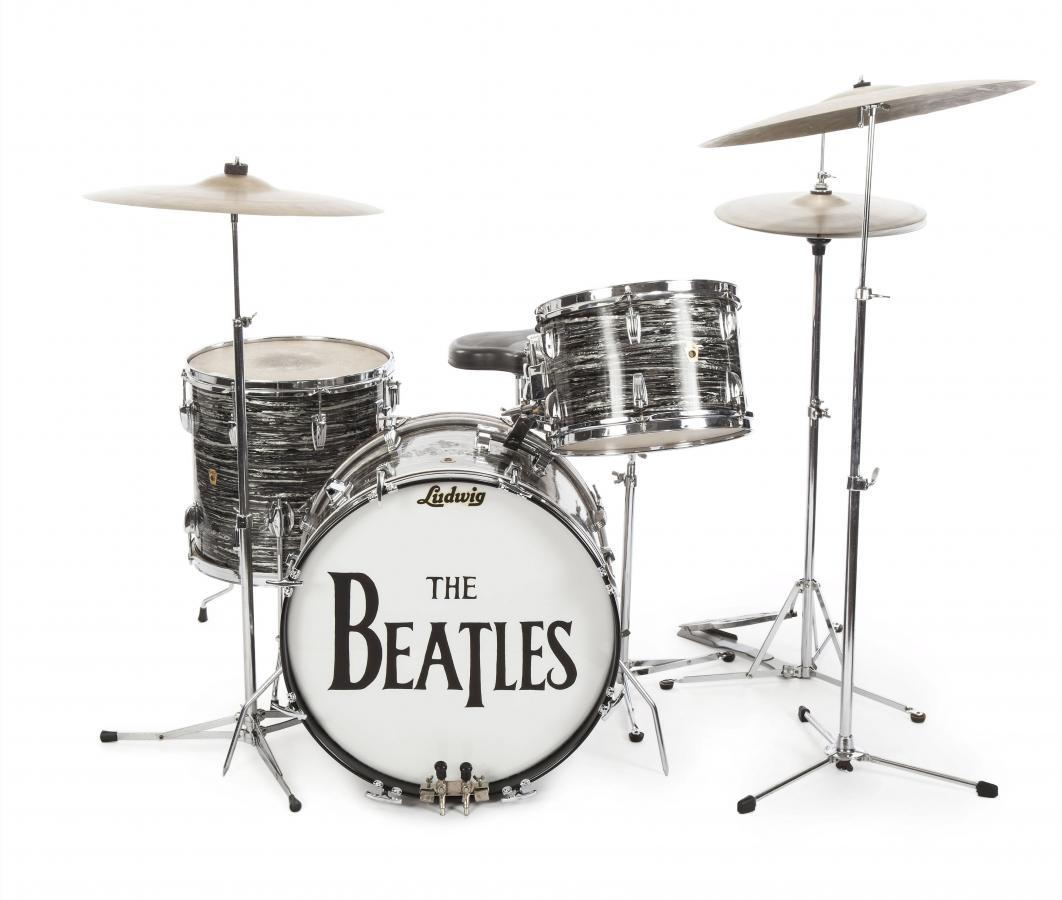 A Studio Drum Set Played By Ringo Starr The First Ludwig Oyster Black Pearl Kit Used For Beatles Early Recordings Is Shown In This Photo