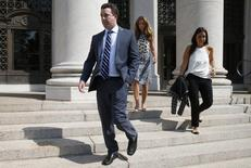 Jesse Litvak, a former managing director at Jefferies Group Inc., walks from the U.S. District Court in New Haven, Connecticut July 23, 2014 after his sentencing hearing.  REUTERS/Mike Segar