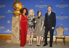Actors Angela Bassett, Chloe Grace Moretz, America Ferrera, and Dennis Quaid pose during the nominations for the 73rd annual Golden Globe Awards in Beverly Hills, California December 10, 2015. REUTERS/Danny Moloshok