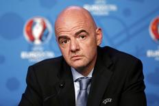 UEFA General Secretary Gianni Infantino attends a news conference after a meeting of UEFA's executive committee, on the eve of the draw of the Euro 2016 finals, in Paris, France, December 11, 2015.  REUTERS/Benoit Tessier