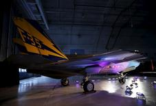 A Lockheed Martin F-35 Lightning II fighter jet is seen in its hanger at Patuxent River Naval Air Station in Maryland October 28, 2015.     REUTERS/Gary Cameron     - RTX1TOPP