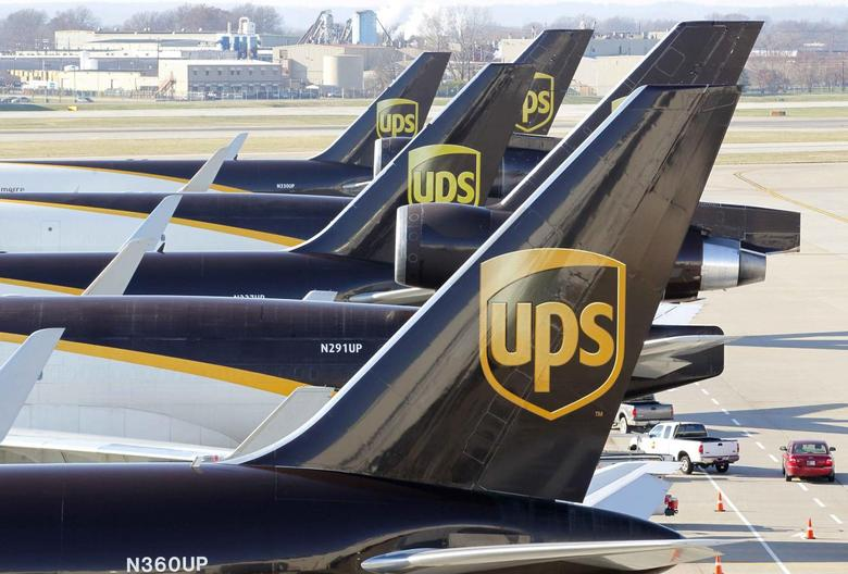 United Parcel Service air craft are being loaded with air containers full of packages bound for their final destination at the UPS Worldport All Points International Hub during the peak delivery month in Louisville, Kentucky in this file photo from December 3, 2015.   REUTERS/John Sommers II/Files