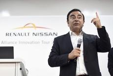Carlos Ghosn, presidente do conselho da aliança Renault-Nissan Alliance, discute o futuro dos veículos autônomos em Sunnyvale, Califórnia. 7 de janeiro de 2016. REUTERS/Noah Berger