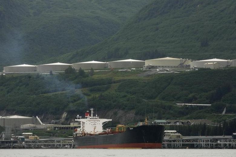 An oil tanker is seen moored at the Trans-Alaska Pipeline Marine Terminal in Valdez, Alaska August 9, 2008. REUTERS/Lucas Jackson