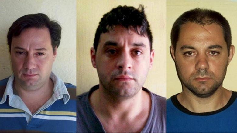 Martin Lanatta, Christian Lanatta and Victor Schillaci (L-R), who escaped from a prison in Santa Fe province two weeks ago, are seen in this undated combination picture released by Argentina's Security Ministry. REUTERS/Security Minstry/Handout via Reuters