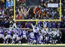 Jan 10, 2016; Minneapolis, MN, USA; Minnesota Vikings kicker Blair Walsh (3) misses the potential game-winning field goal against the Seattle Seahawks in the fourth quarter in a NFC Wild Card playoff football game at TCF Bank Stadium. Mandatory Credit: Bruce Kluckhohn-USA TODAY Sports