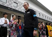 Chris Froome of Britain arrives for a media event at the Umiya Budokan arts centre in Saitama, outside Tokyo October 23, 2015.  REUTERS/Thomas Peter