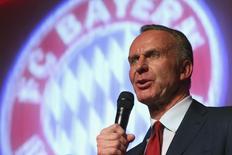 Presidente-executivo do Bayern de Munique, Karl-Heinz Rummenigge. 18/05/2014  REUTERS/Alexander Hassenstein/Pool