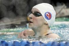 Katie Ledecky reacts after winning the women's 200 meter free final final during the 2016 Arena Pro Swim Series at Lee & Joe Jamail Texas Swimming Center. Soobum Im-USA TODAY Sports