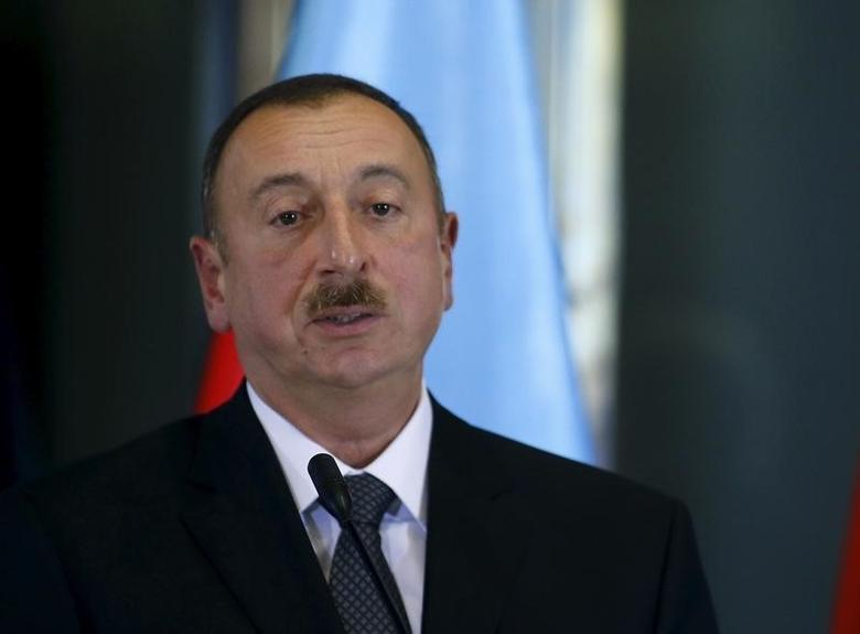 Azerbaijan's President Ilham Aliyev attends a news briefing at the Presidential Palace in Tbilisi, Georgia, November 5, 2015. REUTERS/David Mdzinarishvili