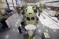 A Bombardier airplane is seen being assembled at the Bombardier aircraft manufacturing facility in Toronto, in this November 25, 2010 file photo. REUTERS/Mark Blinch