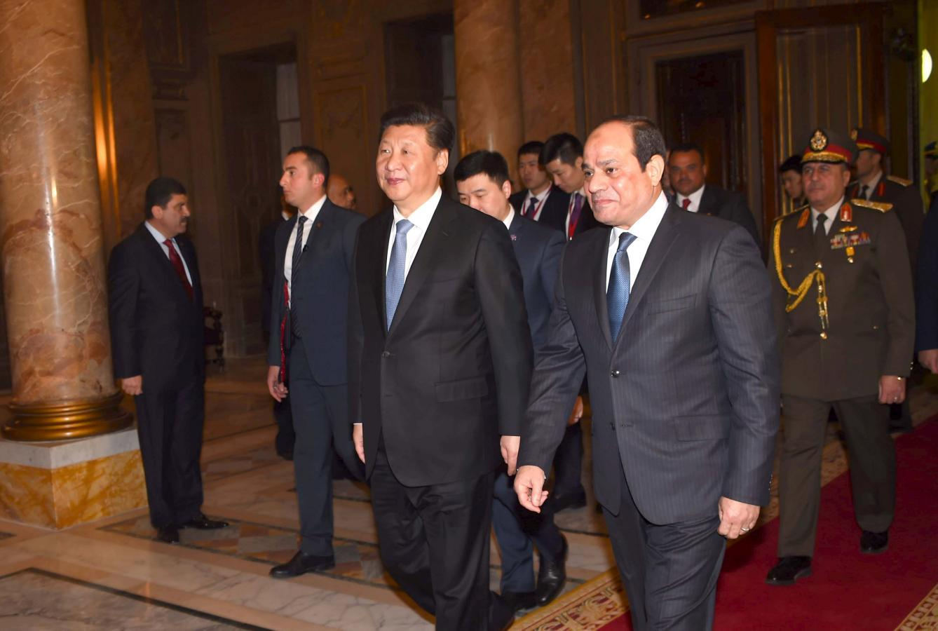 Egyptian President Abdel Fattah Al Sisi R Walks With Chinese Xi Jinping 2nd In Abdeen Palace During The Presidents First Day Of His