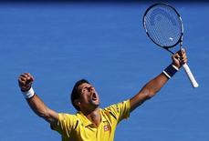 Serbia's Novak Djokovic reacts during his fourth round match against France's Gilles Simon at the Australian Open tennis tournament at Melbourne Park, Australia, January 24, 2016. REUTERS/Jason O'Brien Action Images via Reuters