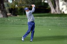 Jan 23, 2016; La Quinta, CA, USA; Jason Dufner watches his fairway shot on the 10th hole during the third round of the CareerBuilder Challenge at La Quinta Country Club. Mandatory Credit: Joe Camporeale-USA TODAY Sports