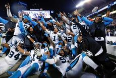 Jan 24, 2016; Charlotte, NC, USA; Carolina Panthers team members pose for a photo during the fourth quarter against the Arizona Cardinals in the NFC Championship football game at Bank of America Stadium. Mandatory Credit: Jason Getz-USA TODAY Sports