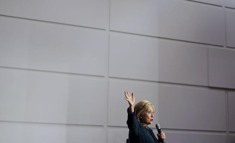 Hillary Clinton speaks at a campaign event in Cedar Falls, Iowa, January 26, 2016. REUTERS/Rick Wilking . SAP is the sponsor of this coverage which is independently produced by the staff of Reuters News Agency.