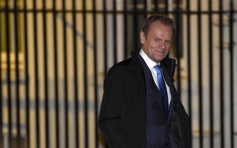 European Council President Donald Tusk arrives for a meeting with British Prime Minister David Cameron at Downing Street in London, Britain, January 31, 2016.  REUTERS/Toby Melville