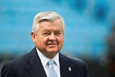 Carolina Panthers team owner Jerry Richardson watches his team warm up in Charlotte, September 2011. REUTERS/Chris Keane
