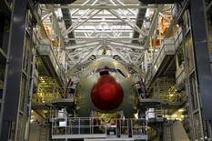 An Airbus A380 is seen on the production line at Airbus headquarters in Toulouse, in this January 13, 2011 file photo. REUTERS/Philippe Wojazer/Files