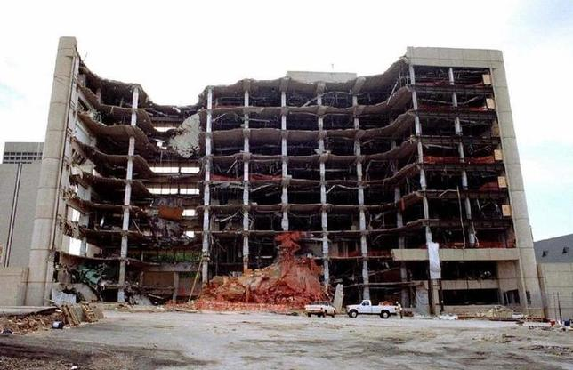 The wreckage of the Alfred P. Murrah Federal Building in downtown Oklahoma City May 22, 1995 after it was devastated by a bomb. REUTERS
